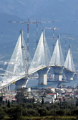 A view of Rio-Antirio bridge that has brought a new era to transportation in Western Greece RIO (Port) PATRA